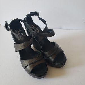 Kork-Ease Black Leather Wedge Sandals Size 9